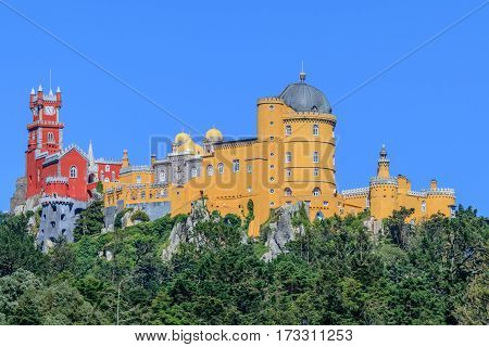 A view of the Pena Palace - Sintra, Lisbon, Portugal