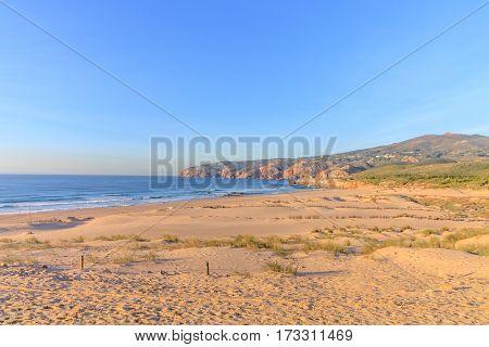 Sea from Guincho Beach in Cascais Portugal
