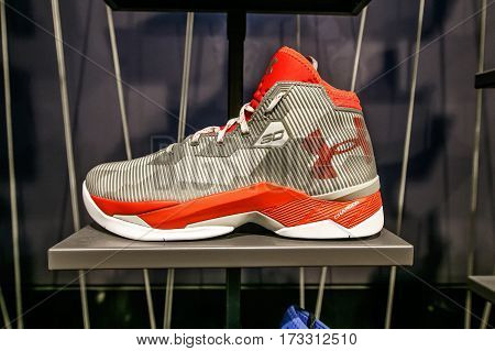 New York February 21 2017: An Under Armour basketball shoe for sale in the NBA store in Manhattan.