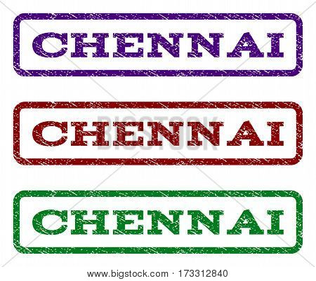 Chennai watermark stamp. Text caption inside rounded rectangle frame with grunge design style. Vector variants are indigo blue red green ink colors. Rubber seal stamp with dust texture.