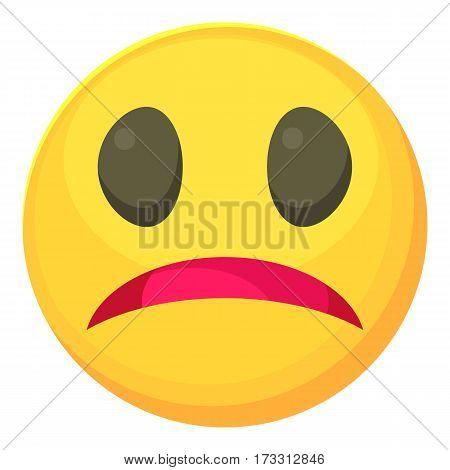 Melancholy smiley icon. Cartoon illustration of melancholy smiley vector icon for web