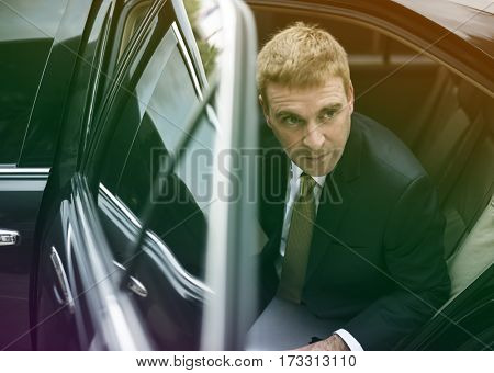 Photo Gradient Style with Businessman Corporate Taxi Transport Service