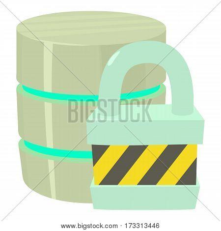Blocked database icon. Cartoon illustration of blocked database vector icon for web
