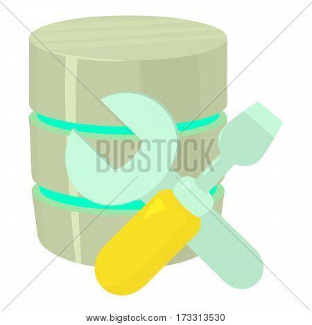 Repairing database icon. Cartoon illustration of repairing database vector icon for web