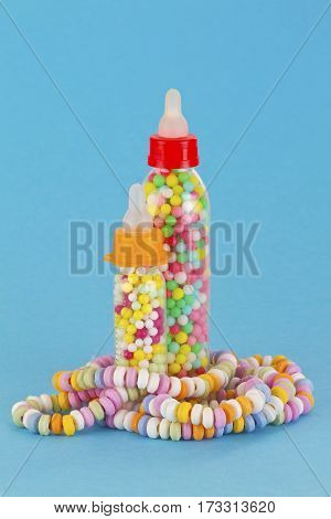 Close up from colorful sweet candy with blue background