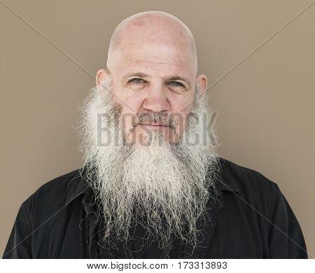 Men Adult Long Beard Bald Head Thoughtful