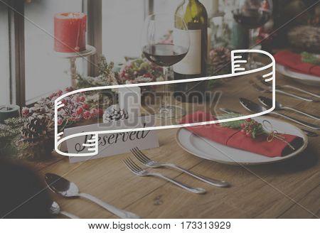 Rectangular Scroll Ribbon Logo Label