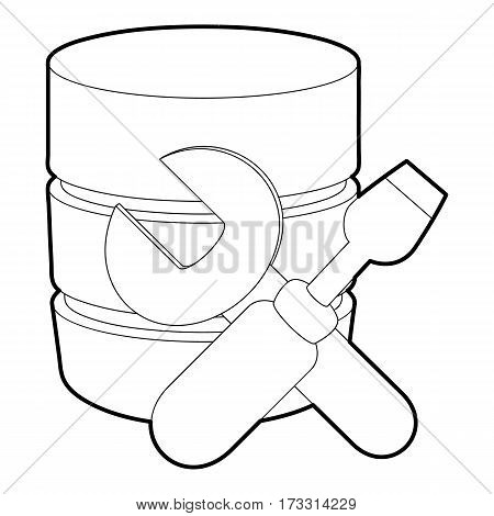 Repairing database icon. Outline illustration of repairing database vector icon for web