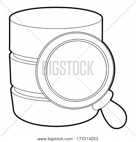 Searching database icon. Outline illustration of searching database vector icon for web