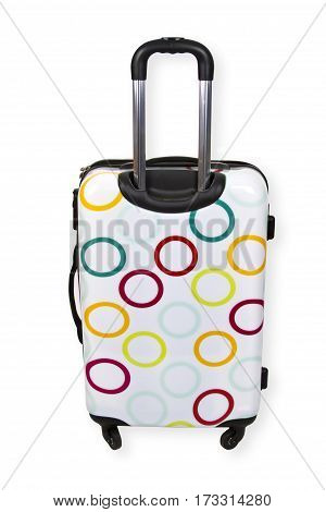 Suitcase with wheels isolated on white background