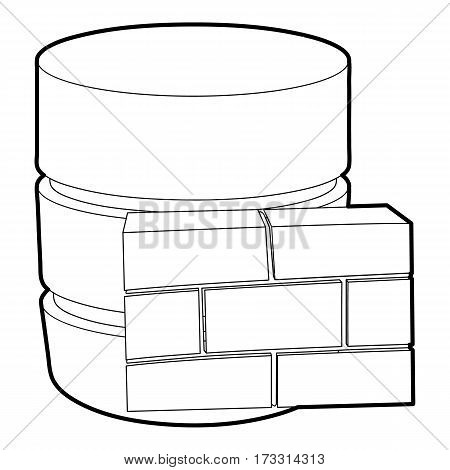 Not available database icon. Outline illustration of not available database vector icon for web