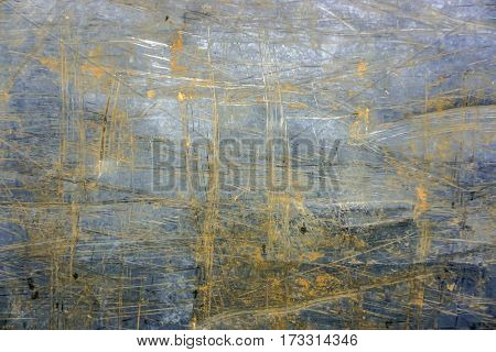 Scratched metal background in detail: Outdoor Shot