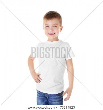 Cute boy in blank T-shirt isolated on white