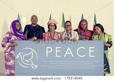 Diverse People Show Peace Board Placard