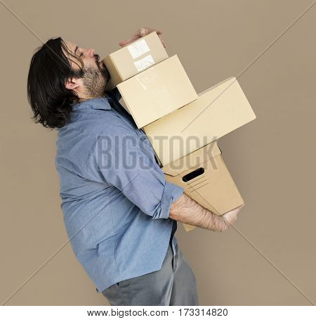Man Carrying Box Parcel Package Overload