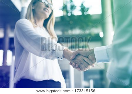 Photo Gradient Style with Men Women Business Agreement Hands Shake