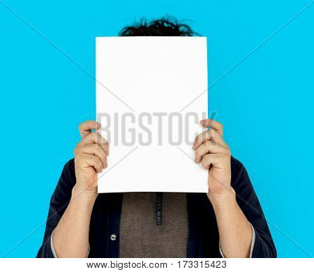 Adult Man Face Covered Paper Portrait Copy Space
