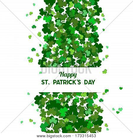 St Patrick's Day Vector Background With Shamrock. Lucky Spring Symbol. The Falling Clover Leaves . C