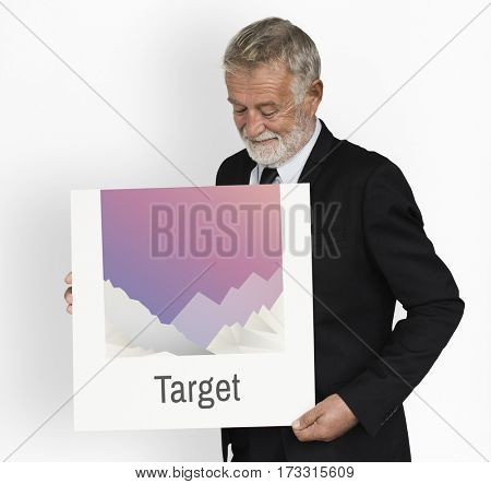 Businessman Holding Target Board Aim