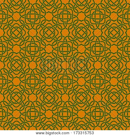 Clover Seamless Pattern In Celtic Style. St. Patrick's Day Endless Repeat Backdrop In Green And Oran