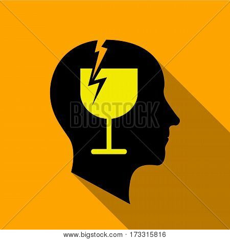 Alcoholic brain icon. Flat illustration of alcoholic brain vector icon for web