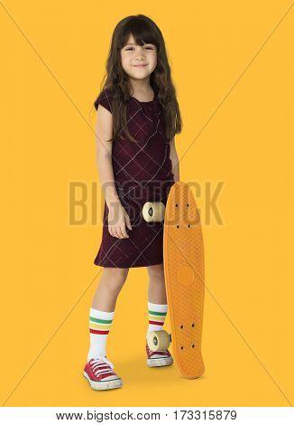 Little Girl Smiling Happiness Skateboard Sport Portrait