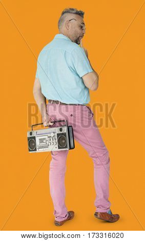 Senior Man Stylish Holding Radio