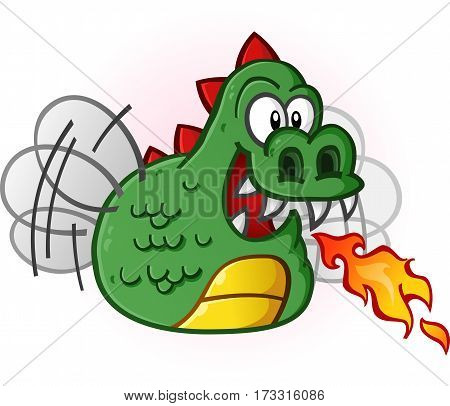 Dragon fly cartoon character buzzing it's wings and breathing fire