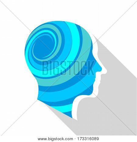 Meditative brain icon. Flat illustration of meditative brain vector icon for web