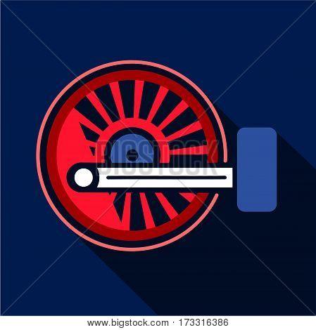 Locomotive wheel icon. Flat illustration of locomotive wheel vector icon for web