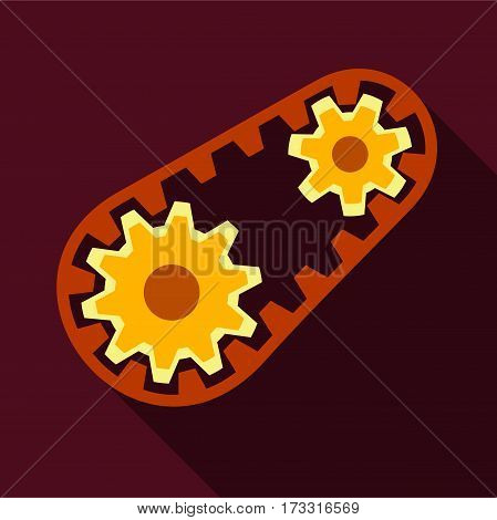 Belt and gear icon. Flat illustration of belt and gear vector icon for web