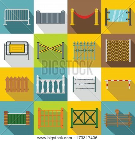 Fencing icons set. Flat illustration of 16 different fencing vector icons for web