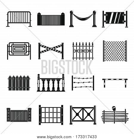 Fencing icons set. Simple illustration of 16 different fencing vector icons for web