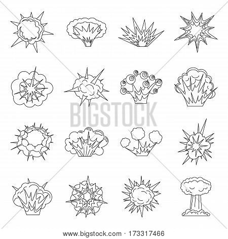 Explosion icons set. Outline illustration of 16 explosion vector icons for web