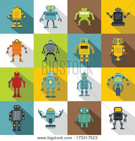 Robot icons set. Flat illustration of 16 robot vector icons for web