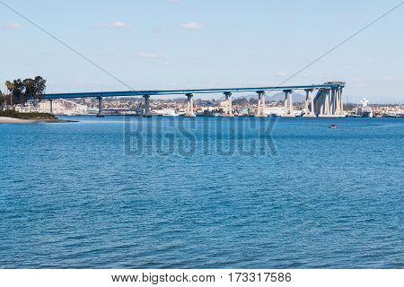 The San Diego-Coronado Bay Bridge spanning San Diego bay, as seen from Coronado, California.