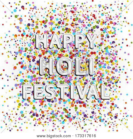 vector colored rounded font lettering of happy holi festival on color full splash dots background