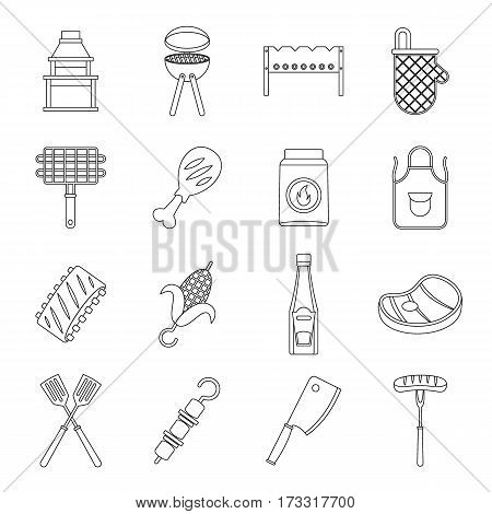 BBQ food icons set. Outline illustration of 16 BBQ food vector icons for web