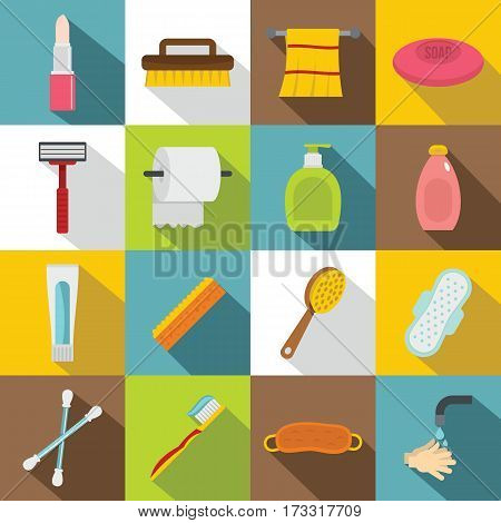 Hygiene tools icons set. Flat illustration of 16 hygiene tools vector icons for web