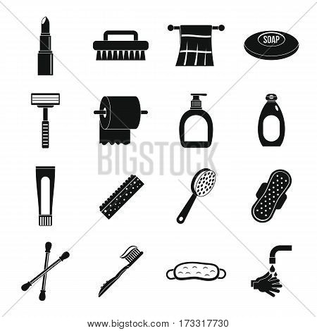 Hygiene tools icons set. Simple illustration of 16 hygiene tools vector icons for web