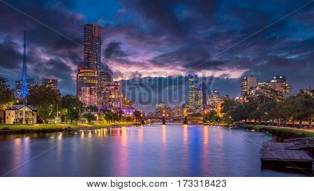 Melbourne. Panoramic image of Melbourne, Australia during summer sunset.