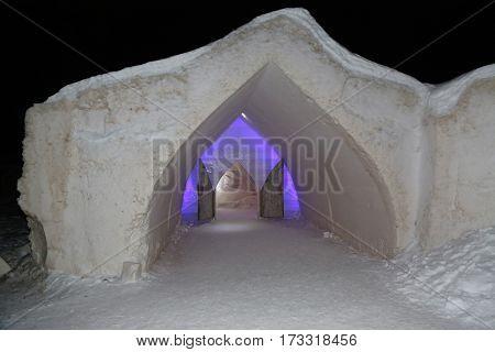 SINETTA, FINLAND - FEBRUARY 16, 2017: Entrance at Arctic Snow Hotel in Finnish Lapland. Arctic SnowHotel is located on the Arctic Circle in Finnish Lapland.