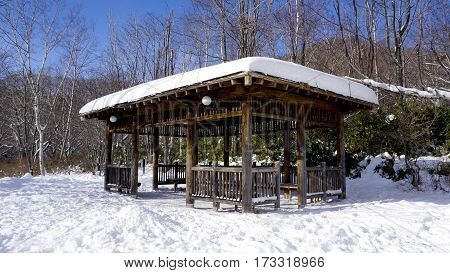 Snow And Wooden Pavilion Environment In The Forest Noboribetsu Onsen