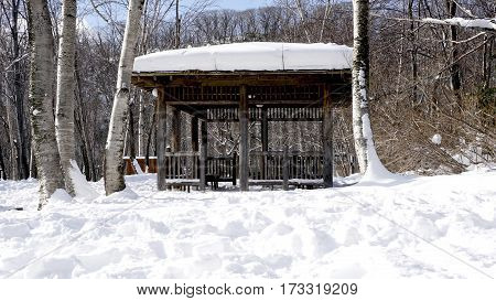 Snow And Wooden Pavilion Landscape In The Forest Noboribetsu Onsen