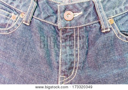 Close up jean zipper on denim texture .