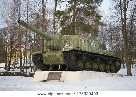 PRIOZERSK, RUSSIA - FEBRUARY 18, 2017: The self-propelled artillery cannon of ISU-153 participating in liberation of Priozersk during the Great Patriotic War in the February afternoon