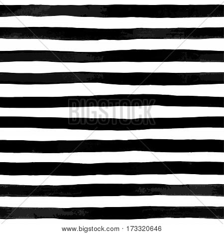 Beautiful seamless pattern with black and white watercolor stripes. hand painted brush strokes striped background. Vector illustration. Vintage textured background