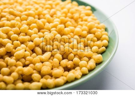 Spicy Boondi or bundi - A traditional Indian namkeen or snack or chat item, selective focus