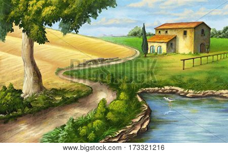 Rural landscape with ranch and pond. Original illustration.