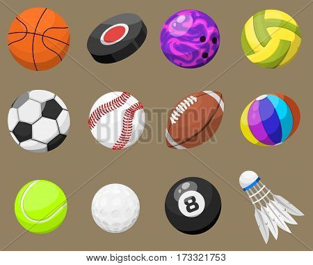 Set of sport balls isolated on background. Collection tournament win round basket soccer equipment. Recreation leather group traditional different design.